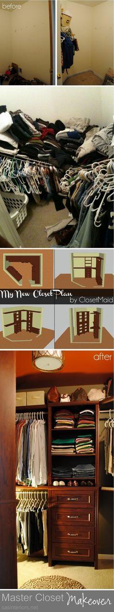 Master Closet Makeover using ClosetMaid Impressions via sasinteriors.net