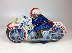 Vintage Tin Toy Police Motorcycle Friction 1970s Vehicle Rare Made in JAPAN 747