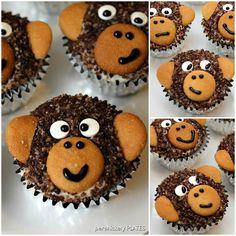 Adorable Monkey Cupcakes! Homemade chocolate cupcakes with chocolate sugar