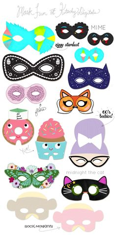 A Kitschy Digitals Collaboration: Printable Masks! Blogged.