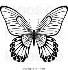 Royalty Free Vector of a Black and White Butterfly Flying Logo by ...