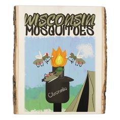 Wisconsin Mosquitoes Cartoon - Camping by Tiki Wood Panel   camping christmas gifts, gifts for woodworkers, camping goodie bags #airstream #camperlife #cotton