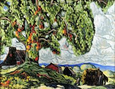 Grand arbre et maisons l'été (c. 1930) - Marc-Aurèle Fortin Canadian Painters, Canadian Artists, Henri Matisse, Vincent Van Gogh, Monet, National Art, Museum Of Fine Arts, Art Studies, Canvases