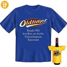 Geburtstags Set T-Shirt + Mini für die Flasche <-> Oldtimer Baujahr 1983 <-> ein kleines lustiges Geschenk Goodman Design®Royal-Blau (*Partner-Link)