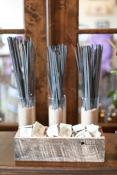 Wedding sparklers station with personalized matchbook favors sparklers wedding;sparklers for wedding;sparklers at wedding; Wedding Sparklers, Wedding Favors, Wedding Events, Wedding Shoes, Wedding Rings, Wedding Invitations, Wedding Dresses, Event Planning Tips, Party