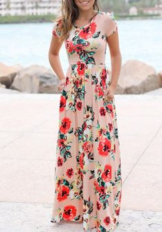 Pink Floral Round Neck Draped Short Sleeve Floor Length Casual Maxi Dress