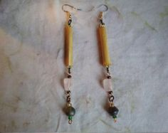 Bamboo Rose Quartz Indian Glass Bead Earrings by cherokeedancing. Explore more products on http://cherokeedancing.etsy.com