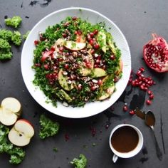 Seasonal winter & christmas salad. Filled with kale, pomegranate, apples and balsamic roasted almonds. Healthy, wholesome and low in calorie.