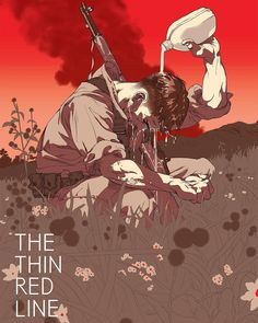 THE THIN RED LINE (Variant) by Tomer Hanuka. Type design by Avi Neeman. On sale tomorrow at a random time! Mondotees.com #TomerHanuka #illustration by mondotees