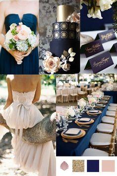 Wedding Theme // Navy, Gold & Antique Blush – Vintage Styler