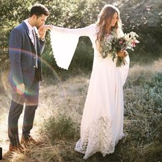 Stone Fox Bride Tessa Barton in our bell sleeve textured lace Glenda dress .... Amaze @tezzamb