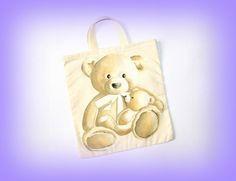 Sac à chaussons de gym ourson ou mini tote bag maternelle fait main unique made in France : Sacs enfants par c-comme-celine