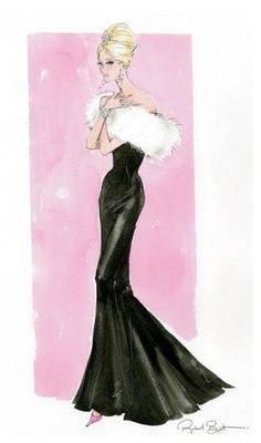"Robert Best fashion art for Barbie, very reminiscent of the earliest doll, ""Solo…"