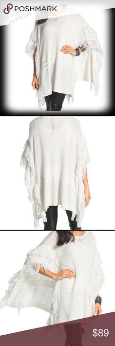 NWT❤️Black Label Soft & Warm Fringe Alpaca Poncho Stunning addition to any wardrobe! This gorgeous sweater is just barely off-white with soft fringe. Alpaca-10% Wool-7% Acrylic-10 Nylon-73% Black Label Chico's Sweaters Shrugs & Ponchos