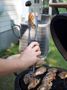 This juicy grilled chicken is brushed with a buttery sauce (no need for a marinade!) and gets a salty tang from Worcestershire sauce and lemon juice. Chicken With Olives, Raw Chicken, Boneless Chicken, Barbque Sauce, Perfect Grilled Chicken, Seasoned Salt, Toasted Marshmallow, Other Recipes, Grilling