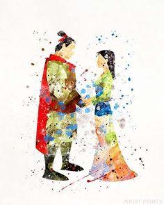 Mulan and Prince Shang, Disney Watercolor Print. Watercolor Disney, Watercolor Walls, Disney Love, Disney Art, Punk Disney, Baby Wall Decor, Pinturas Disney, Disney Posters, Pixar