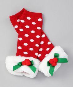 Red Polka Dot Santa Leg Warmers