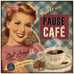 Pause café Art Print by Bruno Pozzo Art com is part of Decoupage vintage - Pause café Art Print by Bruno Pozzo Find art you love and shop highquality art prints, photographs, framed artworks and posters at Art com satisfaction guaranteed Decoupage Vintage, Decoupage Paper, Vintage Labels, Vintage Cards, Retro Vintage, Printable Vintage, Vintage Food, Images Vintage, Vintage Pictures