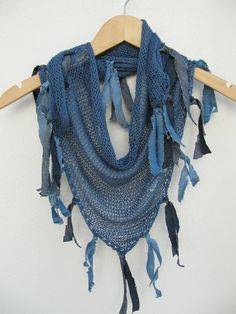 Blue knitted scarf / Women fashion scarf hand knitted /Very functıonal. Good for all seasons