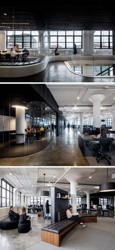 In this New York office space there's curved tinted glass areas with custom curved seating, meeting rooms, plenty of desks, and other more casual work areas.