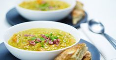 Serve this warming soup in generous sized soup mugs instead of bowls so everyone can wrap their cold hands around them.