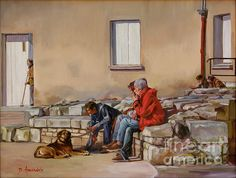 Three Men With A Dog, oil painting  by Dominique Amendola, #art #painting, #cityscapes, street scene, France, figures painting, dog. Prints available for this artwork, just click on the image. Fine art prints available, just click on this image. This image is under strict copyright to Dominique Amendola.
