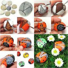How to DIY Painted Pebble Ladybugs | iCreativeIdeas.com Like Us on Facebook ==> https://www.facebook.com/icreativeideas