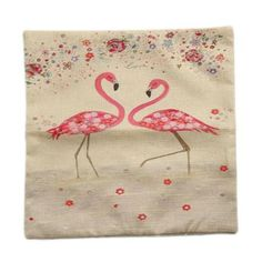 Piccocasa Zip Up Red-crowned Crane Pattern Cushion Pillow Cover Pillowcase