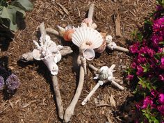 driftwood and seashell crosses