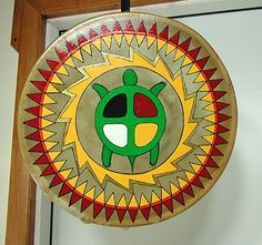 Authentic Native American Four Colors Ceremonial Drum by David Hoff-Grindstone Lakota Native American Design, Native Design, Native American Crafts, Native American Fashion, Painted Gourds, Painted Rocks, Drums Art, Native American Paintings, Barn Quilt Patterns