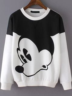 Super cute sweatshirt . Love this cartoon Print Loose Sweatshirt. I get a patch of these pullovers at shein .Mickey Mouse is my favorite one !