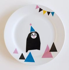 Party penguin plate by Ninainvorm on Etsy