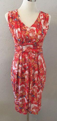 Vera Wang XSmall Womens Dress Orange Floral Empire Waist Pleating Work/ Church #VeraWang #EmpireWaistSheathStretchBodyconSundressTeaDress #Versatile