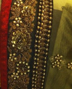Details from my Mom's saree by Sabyasachi . I love the way he keeps the traditional look so modern . Bullion Embroidery, Zardosi Embroidery, Crystal Embroidery, Border Embroidery, Hand Work Embroidery, Gold Embroidery, Embroidery Fashion, Hand Embroidery Designs, Embroidery Dress