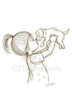 Sketch Illustration of a Puppy and Little Boy or Little Girl - You choose with boy or girl - Sketch Illustration of a Puppy and Little by PhyllisHarrisDesigns Girl Drawing Sketches, Art Drawings Sketches Simple, Sketch Painting, Pencil Art Drawings, Animal Drawings, Easy Drawings, Drawing Ideas, Sketch Ideas, Cute Drawings Of Girls