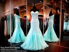 You will be the envy at the party in this super elegant aqua evening gown. The details on the formfitting bodice are incredible and the mermaid silhouette gives it an alluring look! Stunning and it's at Rsvp Prom and Pageant, your source for the HOTTEST Prom and Pageant Dresses!