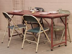 Red Metal Folding Table