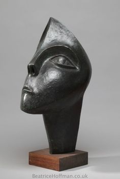 Bronze-resin Sculptures of females by artist Beatrice Hoffman titled: 'Questioning (Big abstract Modern Female Head sculptures)'