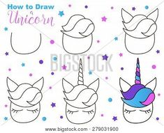 How to draw cute unicorn. easy steps for children activity. kawaii creature with eyes Drawing Videos For Kids, Easy Drawings For Beginners, Drawing Tutorials For Kids, Easy Drawings For Kids, Drawing Lessons, Easy Doodles Drawings, Easy Doodle Art, Simple Doodles, Cute Animal Drawings