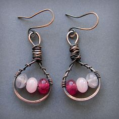 Copper Wire Wrapped Earrings with pink and by Anabel27shop