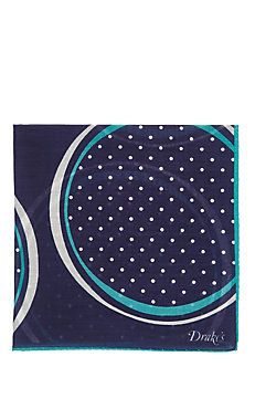 DRAKE'S - Dotted Circle-Pattern Pocket Square