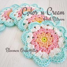 Crochet Pattern Flower Coaster PDF DUTCH by ColornCream on Etsy, $4.99