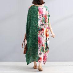 V Neck Splicing Short Sleeves Printing Women Summer Dress - Buykud