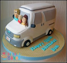 Ford / Mazda bongo campervan cake. Completely edible. 3d hand carved campervan cake, characters are the family that the cake was for. You can see more of my work here www.facebook.com/dollybirdbakes