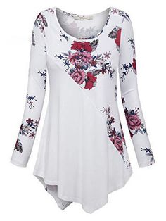 Byyong Women's Plus Size Long Sleeve Print Loose Fitting Round Neck Swing Dress T-Shirt Pullover Tops Over 50 Womens Fashion, Latest Fashion For Women, 50 Fashion, Fashion Trends, Style Feminin, T Shirts For Women, Clothes For Women, Plus Size Blouses, Casual Tops