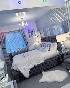 Home Interior Salas .Home Interior Salas Bedroom Decor For Teen Girls, Cute Bedroom Ideas, Girl Bedroom Designs, Room Ideas Bedroom, Small Room Bedroom, Home Decor Bedroom, Neon Bedroom, Grey Bedroom Design, White Bedroom Decor