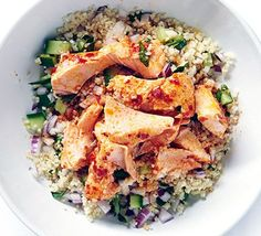 Harissa salmon with zesty couscous - This no-fuss fish supper is quick enough for midweek, and it's heart-healthy and low calorie too - Bbc Good Food Recipes, Heart Healthy Recipes, Cooking Recipes, Healthy Heart, Salmon Recipes, Fish Recipes, Seafood Recipes, Recipies, Clean Eating Diet