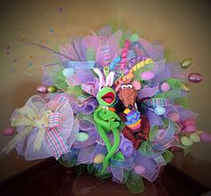 A personal favorite from my Etsy shop https://www.etsy.com/listing/269143048/clearance-sale-hoppy-easter-mesh-wreath