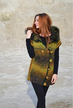 Crochet vest: I would use different colors, obviously, and lose the fur