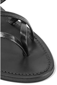 K Jacques St Tropez - Zenobie Metallic Leather Sandals - Gunmetal - IT35